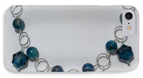 Dark Turquoise Crystal And Faceted Agate Necklace 3676 IPhone Case by Teresa Mucha
