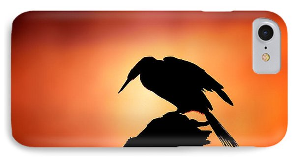 Darter Silhouette With Misty Sunrise Phone Case by Johan Swanepoel