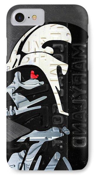 Darth Vader Helmet Star Wars Portrait Recycled License Plate Art IPhone Case
