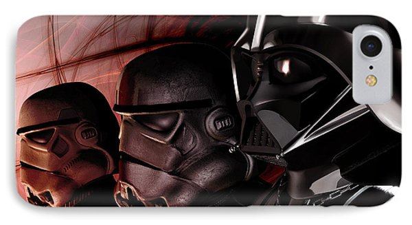 Darth Vader Lined Up With Stormtroopers IPhone Case by Kurt Miller