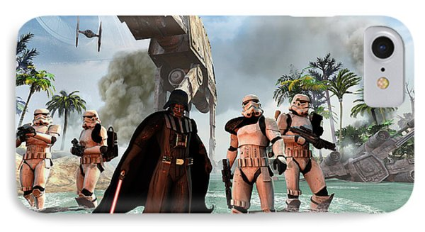 Darth Vader Searching The Beach IPhone Case by Kurt Miller