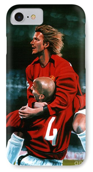 David Beckham And Juan Sebastian Veron IPhone 7 Case by Paul Meijering
