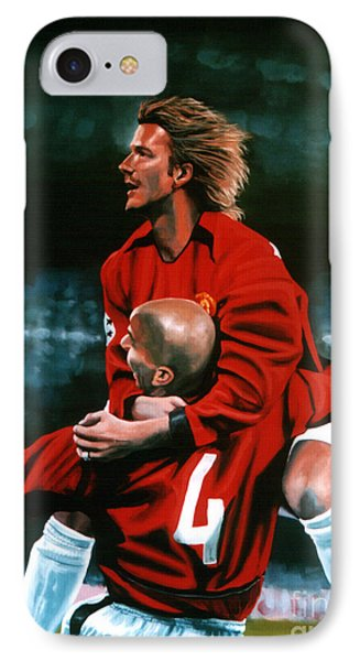 David Beckham And Juan Sebastian Veron IPhone Case by Paul Meijering