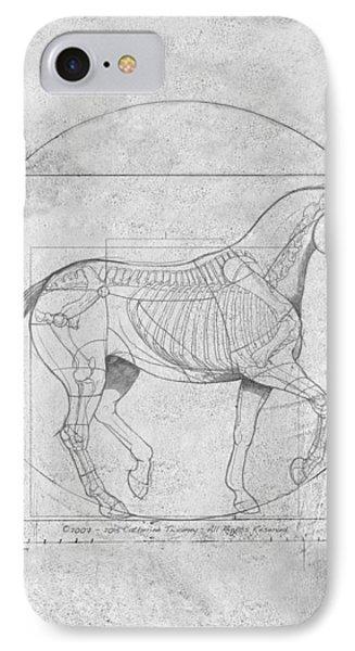Da Vinci Horse Piaffe Grayscale IPhone Case by Catherine Twomey