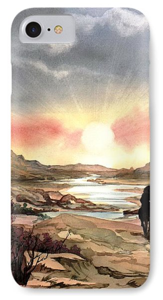 IPhone Case featuring the painting Dawn In The Valley by Mikhail Savchenko