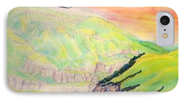 IPhone Case featuring the painting Dawn Like Butter Pouring Over The Inal Plateau Steppe Tyzyl Gorge  Kabardino Nalchik Russia by Anastasia Savage Ealy