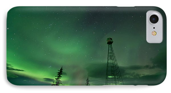 Dawson City Fire Lookout Tower With Northern Lights IPhone Case
