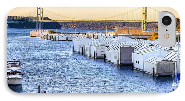 Day Island Marina And Narrows Bridges IPhone Case by Rob Green