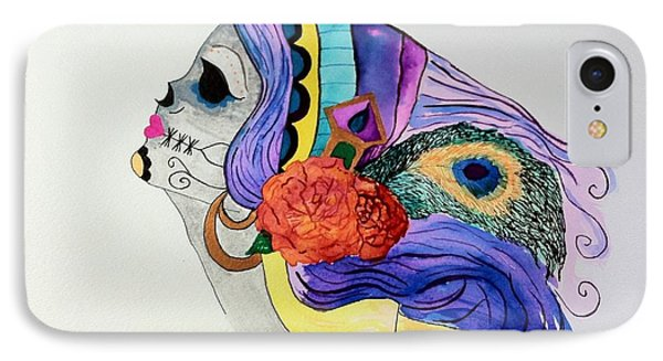 Day Of The Dead Lady 2 Phone Case by Melissa Darnell Glowacki