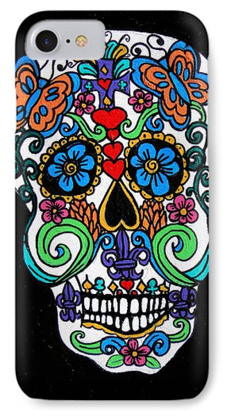Day Of The Dead Skull Phone Case by Genevieve Esson