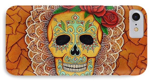 IPhone Case featuring the painting Day Of The Dead With Roses And Lace by Joseph Sonday