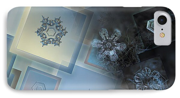 IPhone Case featuring the photograph Snowflake Collage - Daybreak by Alexey Kljatov