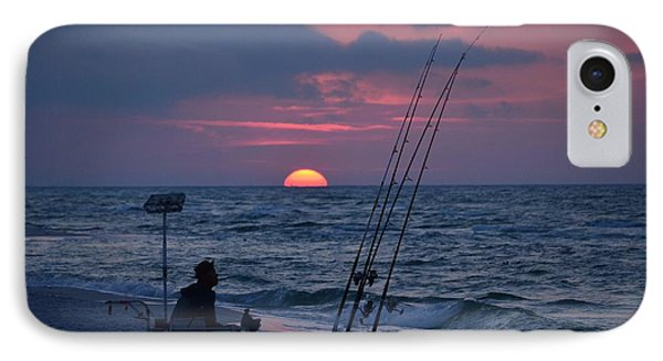 IPhone Case featuring the photograph Daybreak On Navarre Beach With Deng The Fisherman by Jeff at JSJ Photography