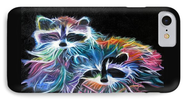 IPhone Case featuring the painting Dayglow Raccoons by LaVonne Hand