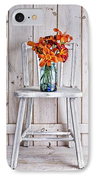 Daylillies On A White Chair IPhone Case by Edward Fielding
