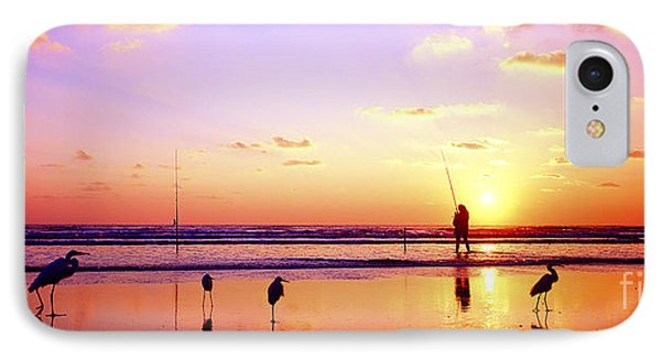 IPhone Case featuring the photograph Daytona Beach Fl Surf Fishing And Birds by Tom Jelen