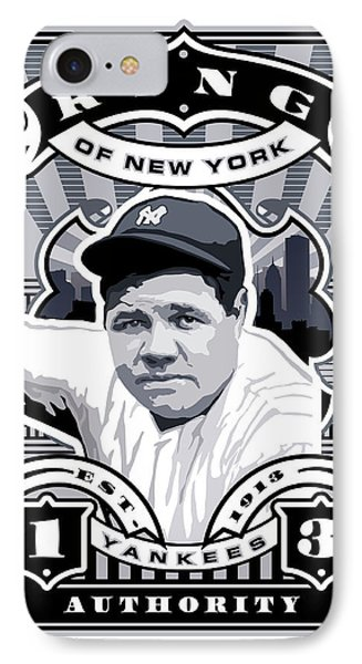 Dcla Babe Ruth Kings Of New York Stamp Artwork IPhone Case by David Cook Los Angeles
