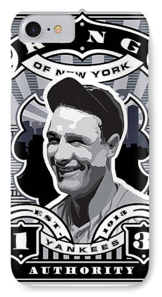 Dcla Lou Gehrig Kings Of New York Stamp Artwork IPhone Case by David Cook Los Angeles