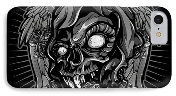 Dcla Skull Cold Dead Hand Gray 3 Phone Case by David Cook Los Angeles
