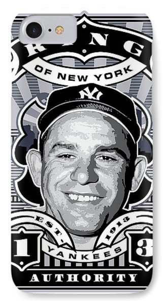 Dcla Yogi Berra Kings Of New York Stamp Artwork IPhone Case by David Cook Los Angeles