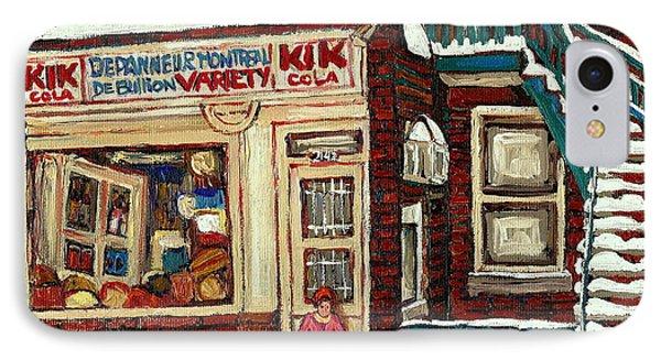 De Bullion Street Depanneur Kik Cola Montreal Streetscenes IPhone Case by Carole Spandau