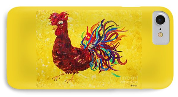 IPhone Case featuring the painting De Colores Rooster by Eloise Schneider
