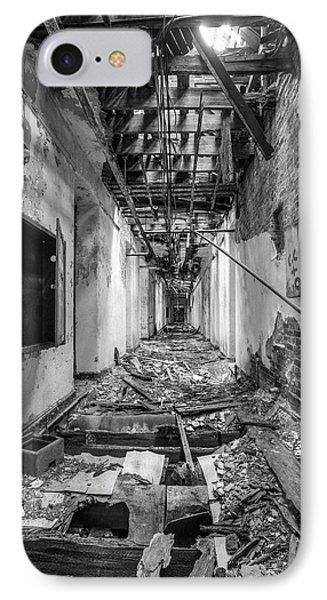 Deadly Corridor - Abandoned Asylum Building Phone Case by Gary Heller