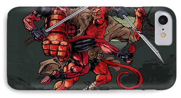 IPhone Case featuring the mixed media Deadpool Vs Hellboy by John Ashton Golden