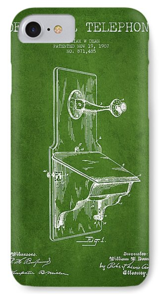 Dean Wall Telephone Patent Drawing From 1907 - Green IPhone Case by Aged Pixel