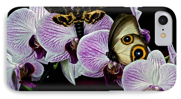 Death Heads Moth Meets Silky Owl Butterfly On Orchid Flower Phone Case by Leslie Crotty
