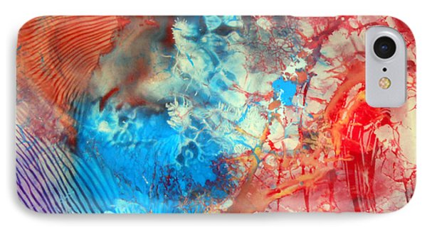 IPhone Case featuring the painting Decalcomaniac Colorfield Abstraction Without Number by Otto Rapp