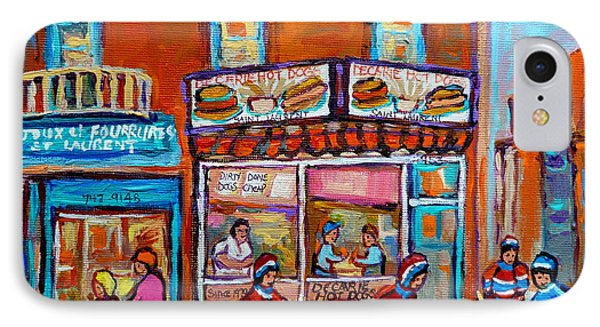 Decarie Hot Dog Restaurant Ville St. Laurent Montreal  Phone Case by Carole Spandau