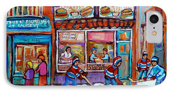 Decarie Hot Dog Restaurant Ville St. Laurent Montreal  IPhone Case by Carole Spandau