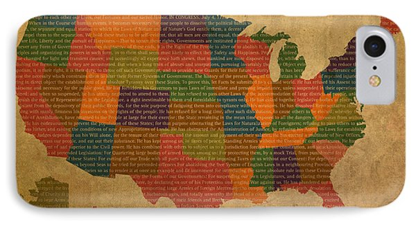 Declaration Of Independence Word Map Of The United States Of America Phone Case by Design Turnpike