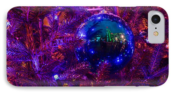 Decoration Ball On A Christmas Tree Illuminated With Red Light - Featured 3 Phone Case by Alexander Senin