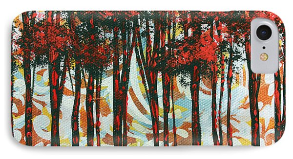 Decorative Abstract Floral Bird Landscape Painting Forest Of Dreams II By Megan Duncanson Phone Case by Megan Duncanson