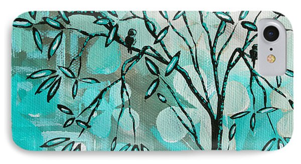 Decorative Abstract Floral Birds Landscape Painting Bird Haven I By Megan Duncanson Phone Case by Megan Duncanson