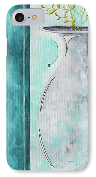 Decorative Floral Vase Painting Shabby Chic Style Relax And Unwind I By Madart Studios Phone Case by Megan Duncanson
