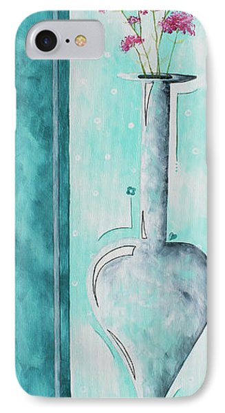 Decorative Floral Vase Painting Shabby Chic Style Relax And Unwind II By Madart Studios Phone Case by Megan Duncanson