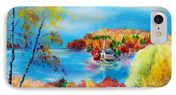 Deer And Country Church Autumn Scene Phone Case by Melanie Palmer