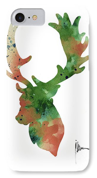 Deer Antlers Silhouette Watercolor Art Print Painting IPhone 7 Case by Joanna Szmerdt