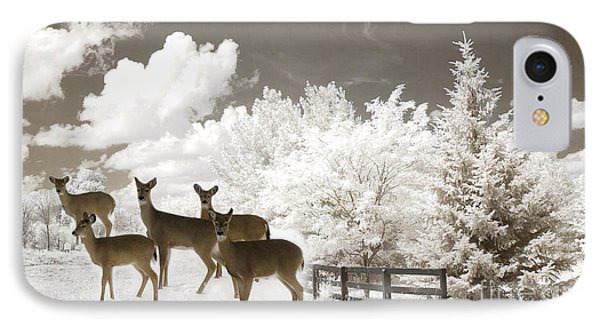 Deer Nature Winter - Surreal Nature Deer Winter Snow Landscape IPhone Case by Kathy Fornal