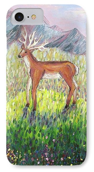 Deer In Field IPhone Case by Suzanne  Marie Leclair