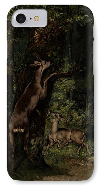 Deer In The Forest Phone Case by Gustave Courbet