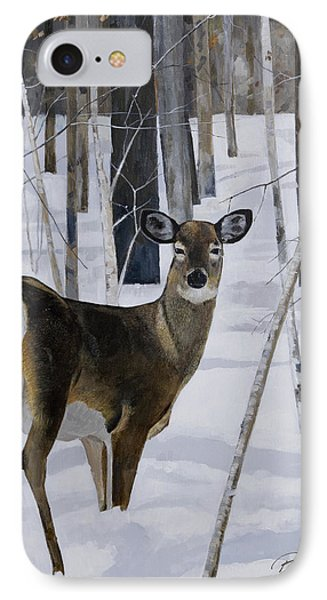 Deer In The Snow Phone Case by Bill Dunkley