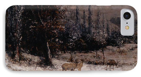 Deer In The Snow Phone Case by Gustave  Courbet