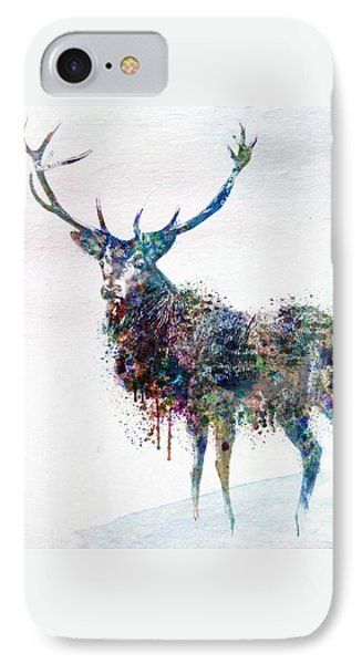 Deer In Watercolor IPhone Case by Marian Voicu
