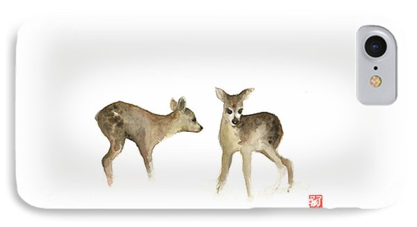 Deer Nature Brown Colors Earth Animal Animals Pet Pets Forest Wild Watercolor Painting IPhone Case