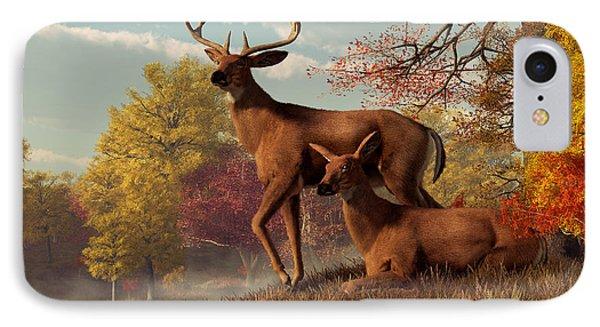 Deer On An Autumn Lakeshore  Phone Case by Daniel Eskridge