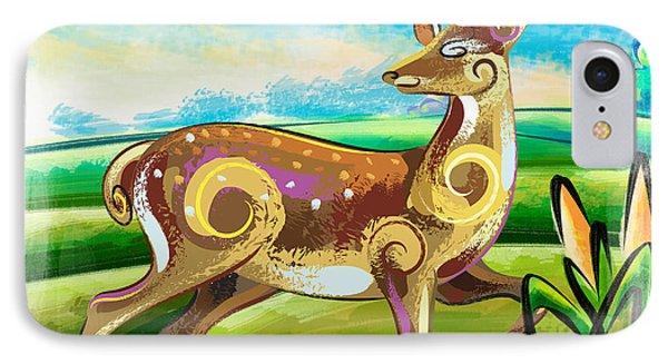 Deer Over Hill IPhone Case by Bedros Awak